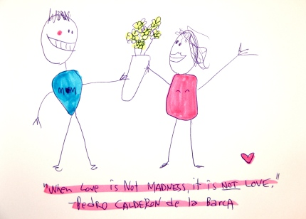 Stickman in Love gives flowers.